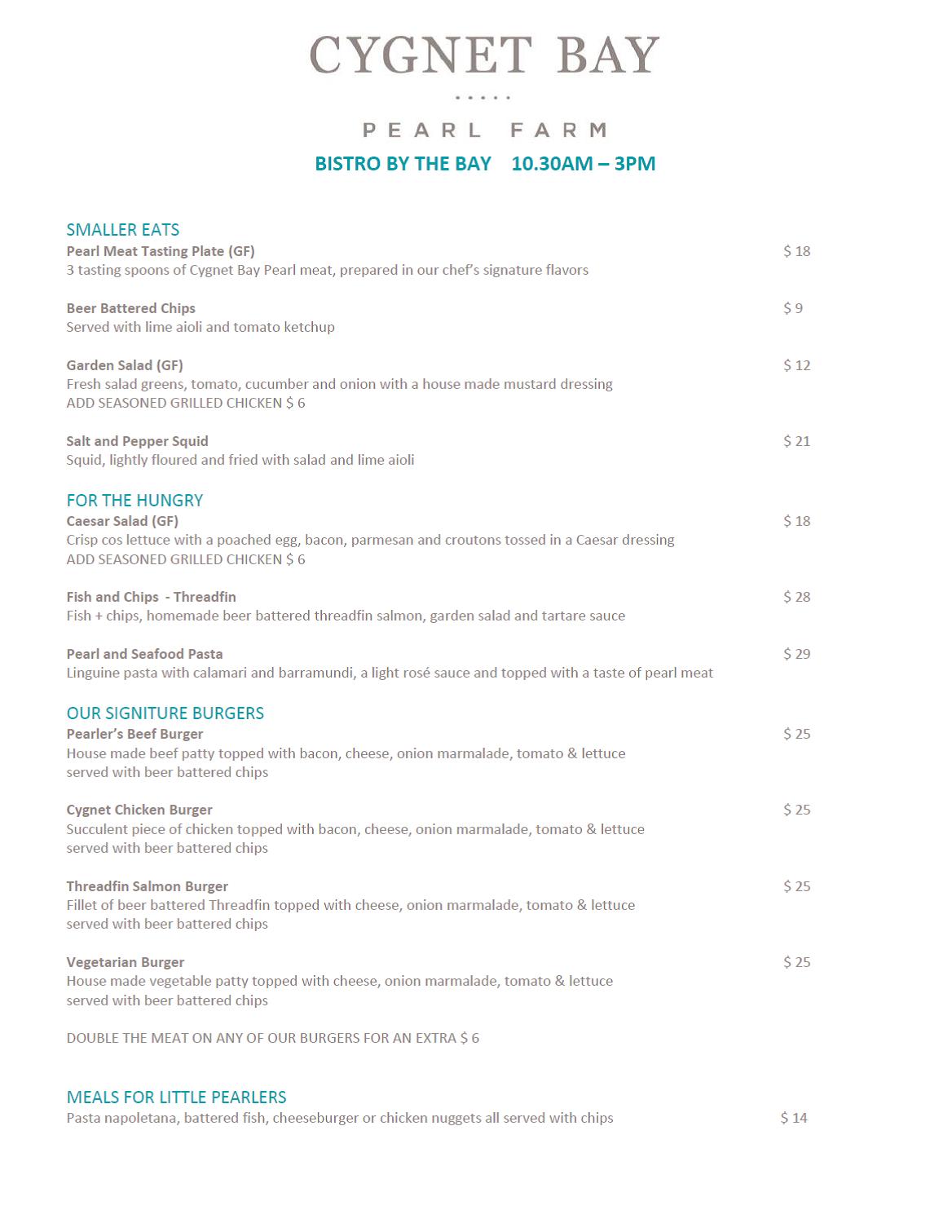 OCt lunch menu